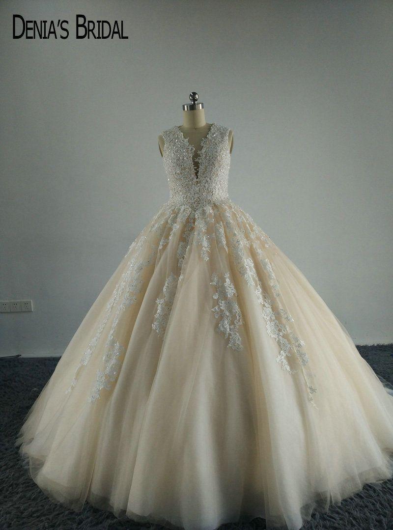Glamorous Vestdidos De Novias Illusion Plunging V Neck Appliqued Beaded Princess Puffy Wedding Dresses