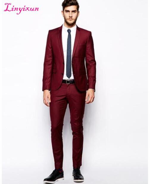 Linyixun Mode-stil Zwei Button Dark Red Bräutigam Smoking Groomsmen männer Hochzeit Prom Anzüge Bräutigam (Jacke + Pants)