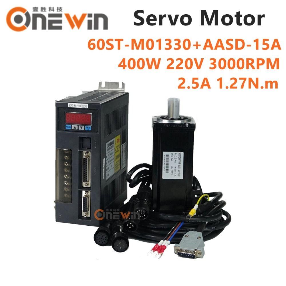 400 watt AC servo motor kit 60ST-M01330 + AASD-15A fahrer durchmesser 60mm 220 v 1.27NM 3000 rpm