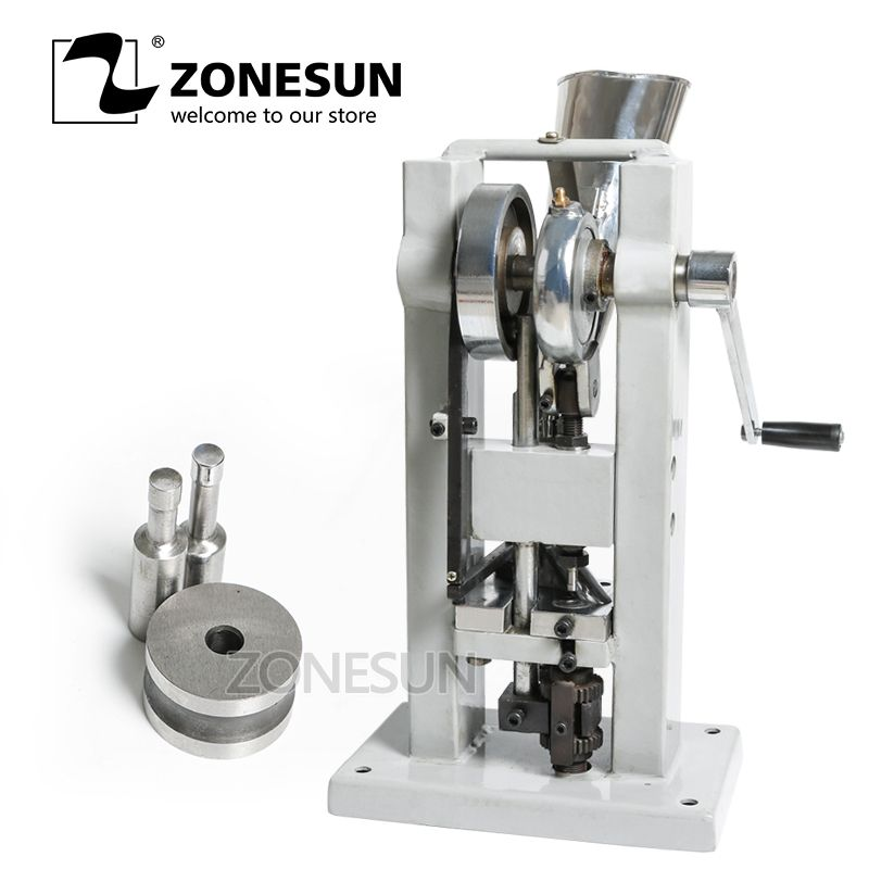 ZONESUN TDP-0 Manual Single Rotary Punch Tablet Press Stamping Candy Sugar Salt Pressing Die Making Machine