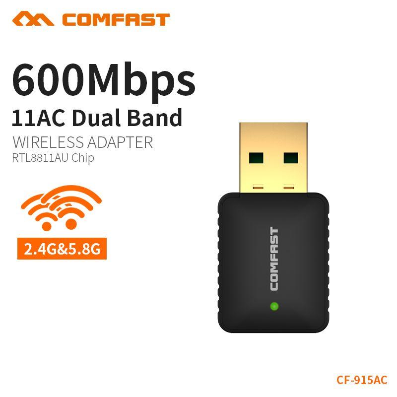 COMFAST USB WiFi Adaptateur AC 600 Mbps PC Mini Wifi Antenne Signal Récepteur Carte Réseau Double Bande 2.4 + 5.8 Ghz Lan Ethernet Adaptateur