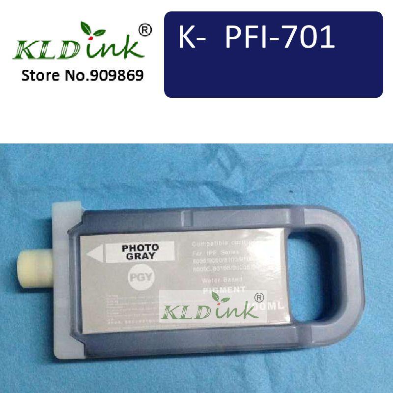 [KLD Inkjets]X1PCS PFI701 Photo Gray PFI-701PGY Compatible Pigment Ink Tank For iPF8000 iPF8100 iPF9000 iPF9100