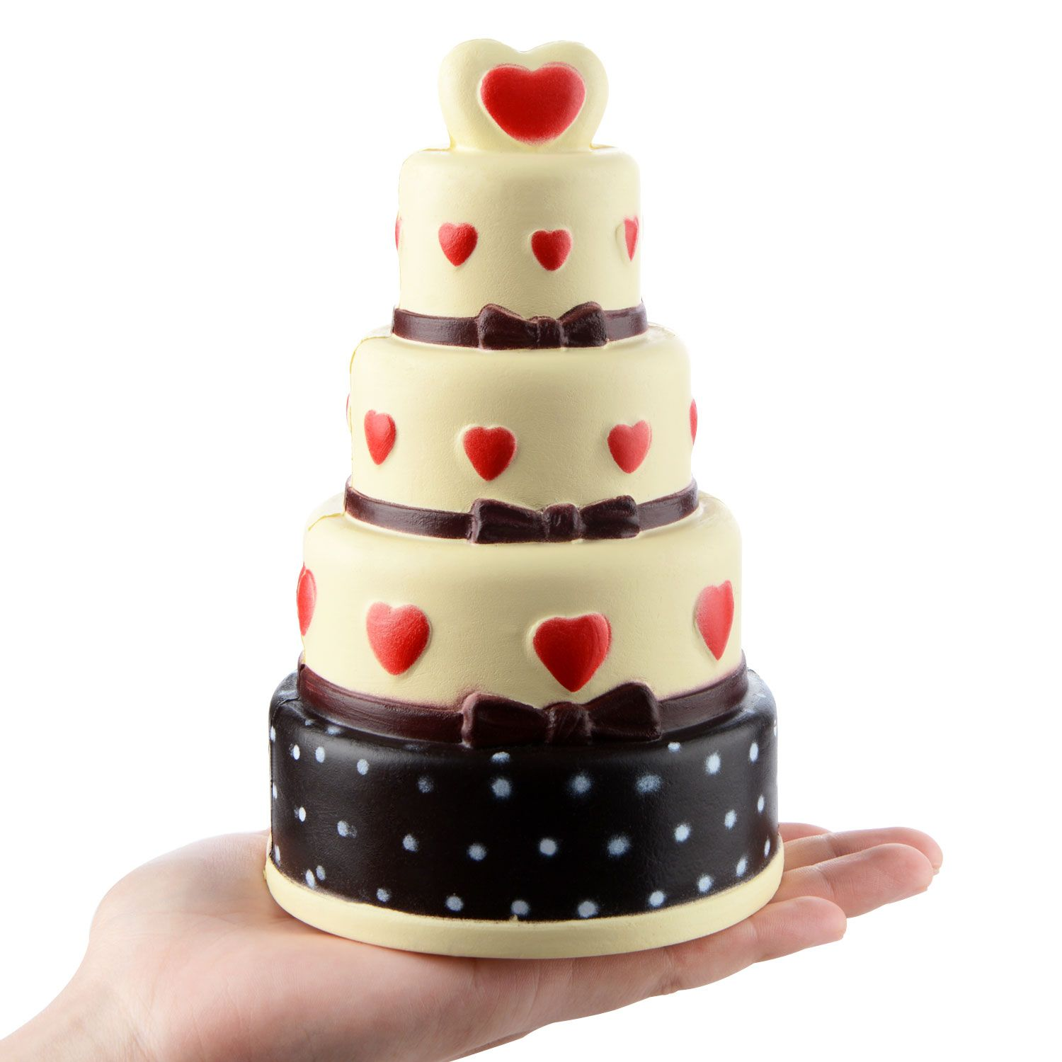 18CM Jumbo 4 Layer Red Heart Cake Squishy Toy Cakes Slow Rising Chocolate Cake Kids Doll Decor Squeeze Fun Joke Props Gift