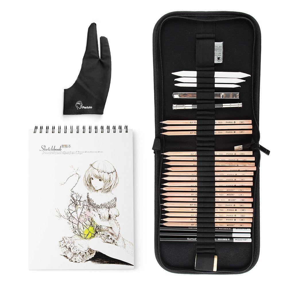 Marco 29 pièces trousse à outils professionnelle pour croquis et dessin avec crayons en Graphite, crayons à charbon, stylo effaçable en papier, couteau artisanal