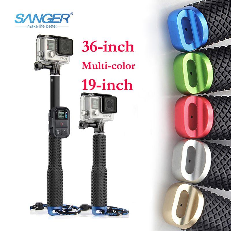 SANGER pour Gopro Accessoires 36 pouces Portable Selfie Bâton Monopode pour Xiaomi Yi 4 K Go Pro Hero 5 4 3 + Sjcam SJ4000 D'action caméra