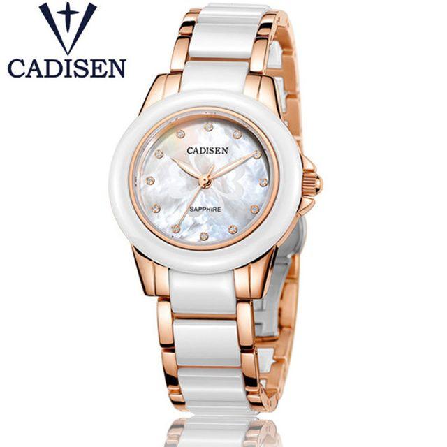 CADISEN montres pour femmes de luxe tout nouveau genève dames Montre à Quartz fille or Montre-bracelet en céramique Relogio Feminino Montre Femme