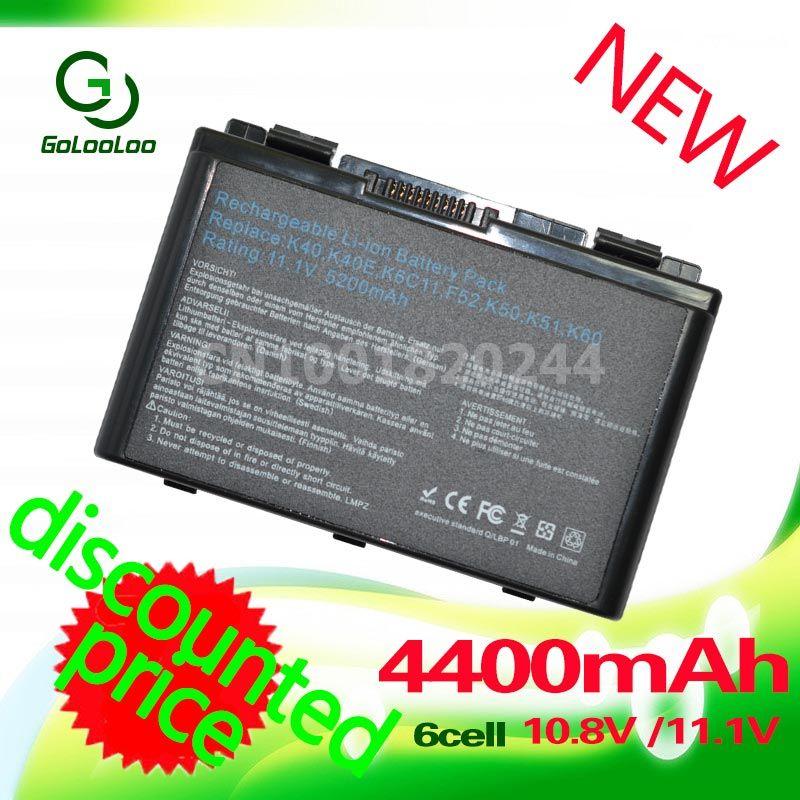 Golooloo <font><b>4400mah</b></font> Battery For Asus A32-f82 A32-F52 F52 k40in K50 K50iJ K51 k50AB k50ID k50iJ N82 K40 K42J K42 k50c K51 A32 F82
