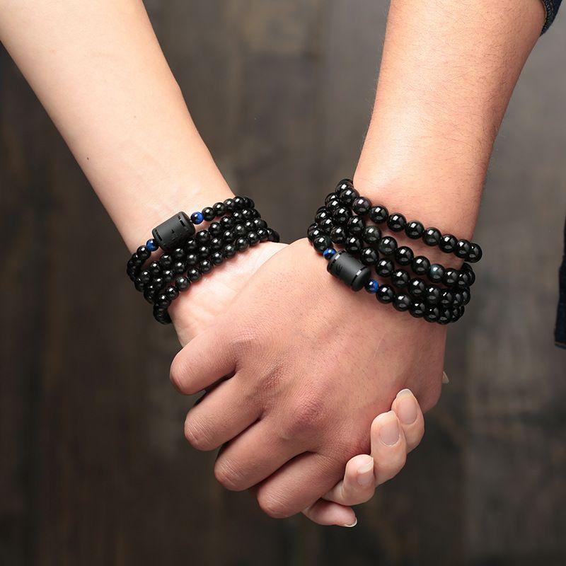 6mm 8mm Lover's Style Black Stone Obsidian Beads Bracelet Multilayer Transfer Luck Bracelet & Bangle Jewelry For Couple