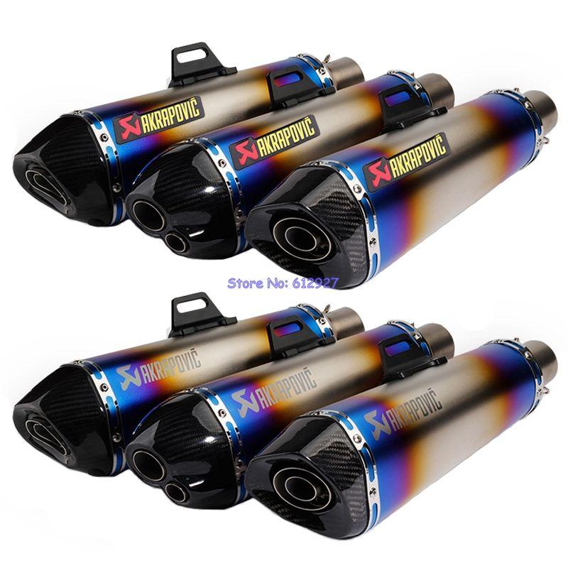 JOHOTAKI: Length 470mm Inlet 51mm Motorcycle Akrapovic Exhaust Pipe Muffler Slip On Laser Mark Carbon Fiber End