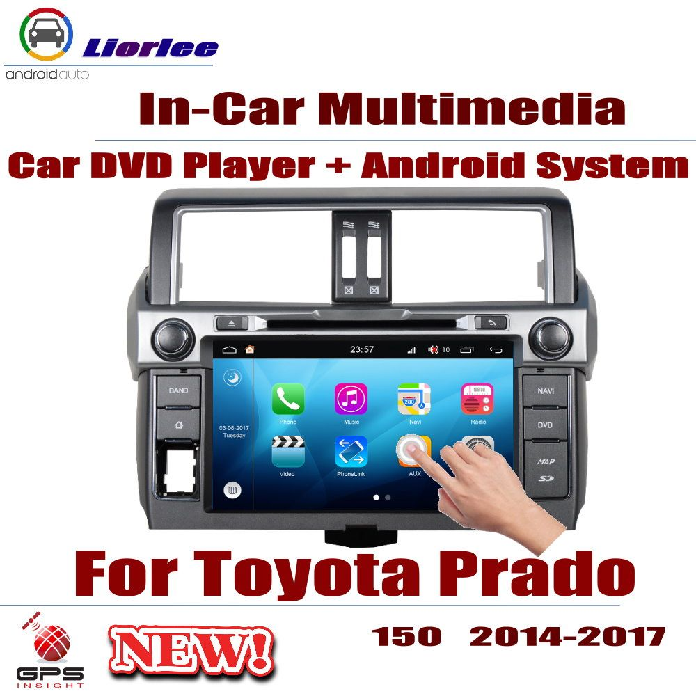 Auto Android System Android 8 Core A53 Prozessor IPS LCD Screen Für Toyota Land Cruiser Prado 150 2014 ~ 2017 DVD player GPS Navi