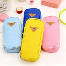 Korean Style Candy Color Brief Canvas Pencil Case Multifunction Stationery Storage Organizer Bag School Supply 20*9*3.5 cm