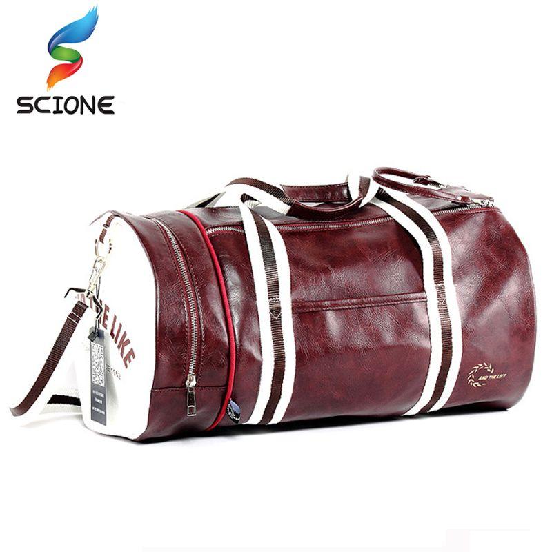 Hot Outdoor Sport Multifunction PU Gym Fitness Training Shoulder Bag With Independent Shoes Pocket Mixed Color Travel Handbag