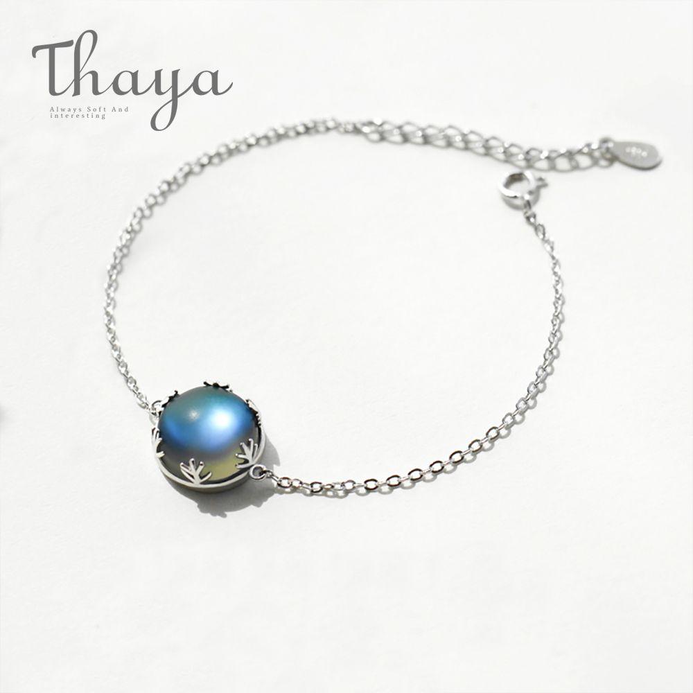 Thaya Original Design Aurora Moonstone Forêt Coussin Dames Bracelets 925 Argent Échelle lumière Bracelet Femelle Simple bijoux