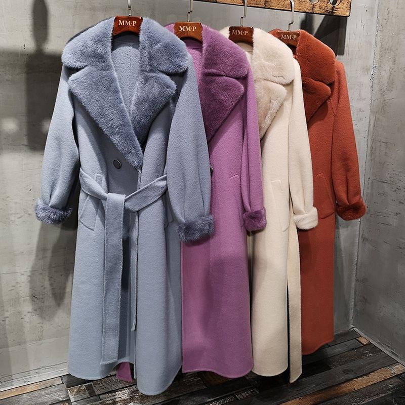 4 farben Mode Lange Kaschmir Echt Pelzmantel Frauen Mit Natürlichen Nerz Pelz Kragen Winter Verdicken Warme Jacke Weibliche Oberbekleidung
