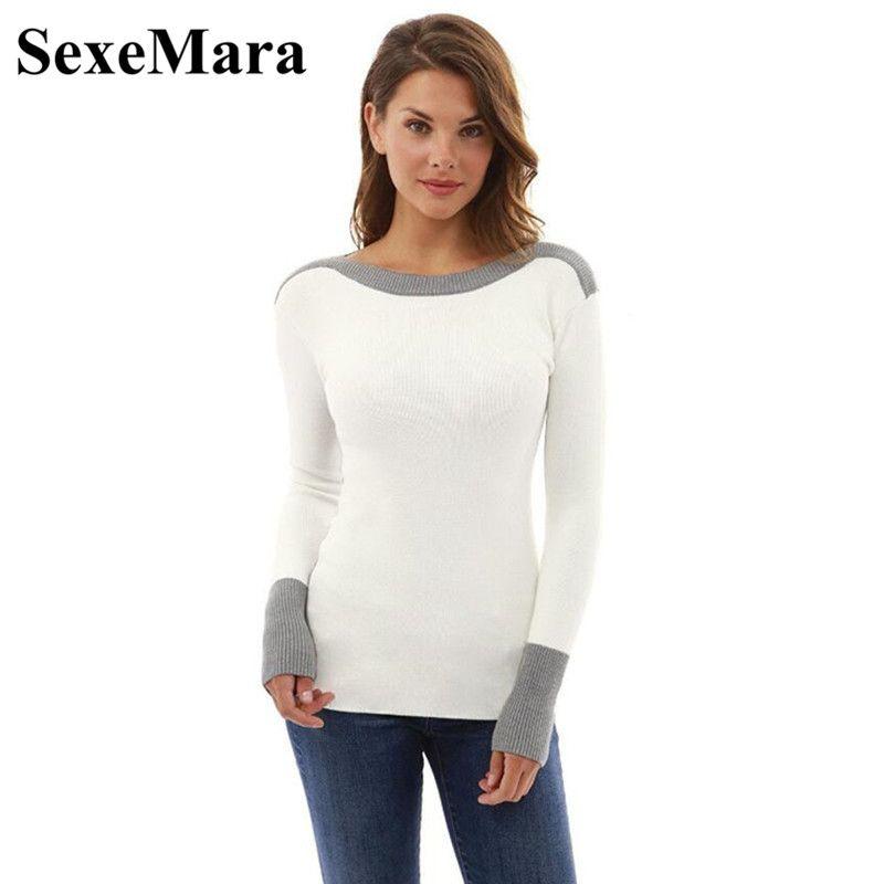 SexeMara patchwork knitted sweater women pullover 2017 autumn winter tops casual slim long sleeve shirt knit jumper D34-H95