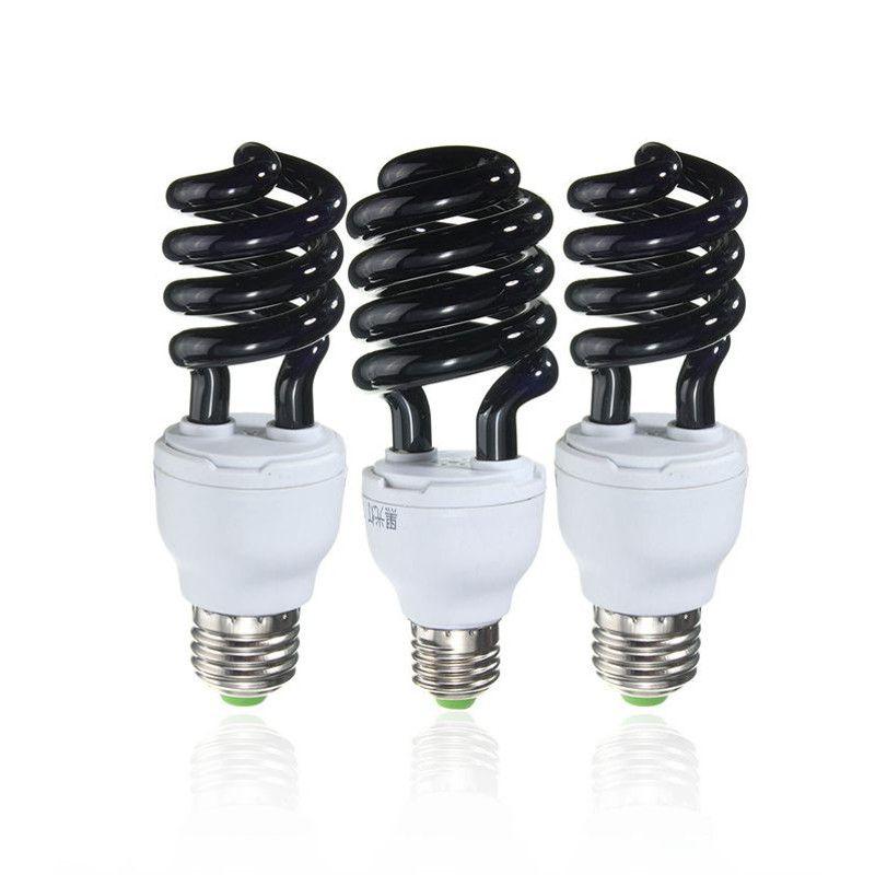 Heißer Verkauf E27 15/20/30 Watt Spirale Enegy Einsparung Uv Fluorescent Schwarz CFL Glühlampe Violet Lampen 220 V 300-400nm
