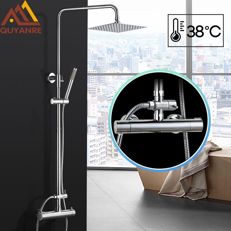 Quyanre Chrom-thermostatische Dusche Armaturen Set Wand Halterung 10 Ultradünne Dusche Dual Griffe Thermostat Mischbatterie Ventil Dusche
