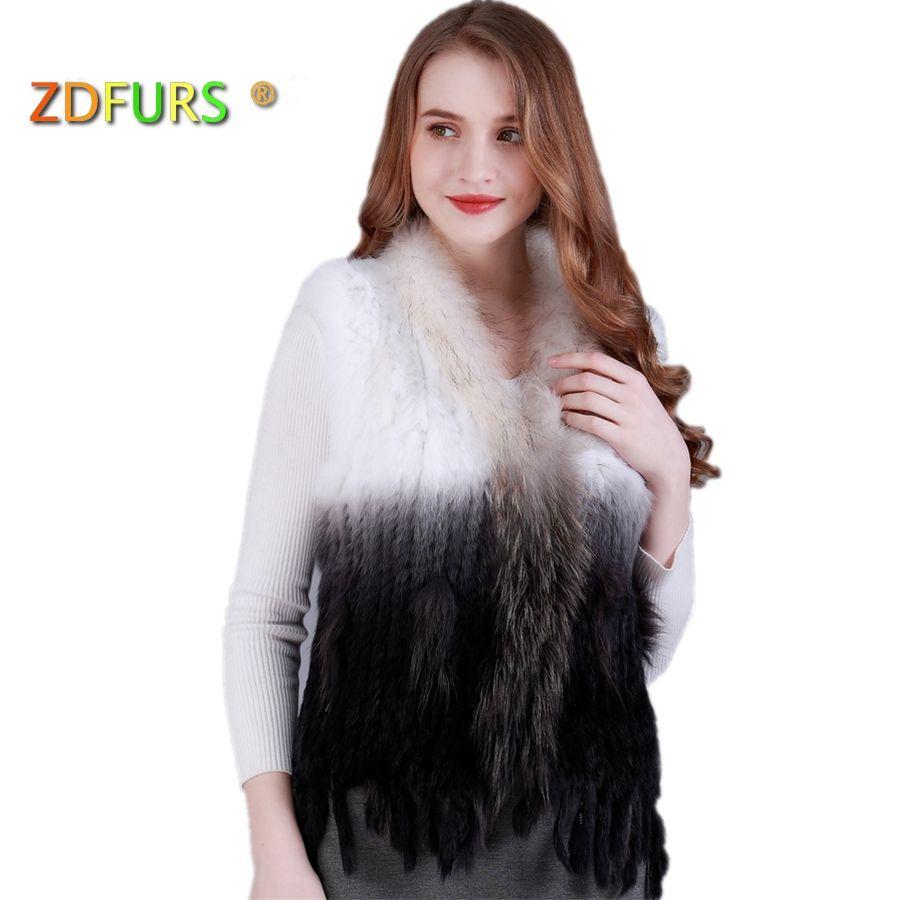 ZDFURS * natural real rabbit fur vest with raccoon fur collar waistcoat/jackets rex rabbit knitted winter for women ZDKR-165005