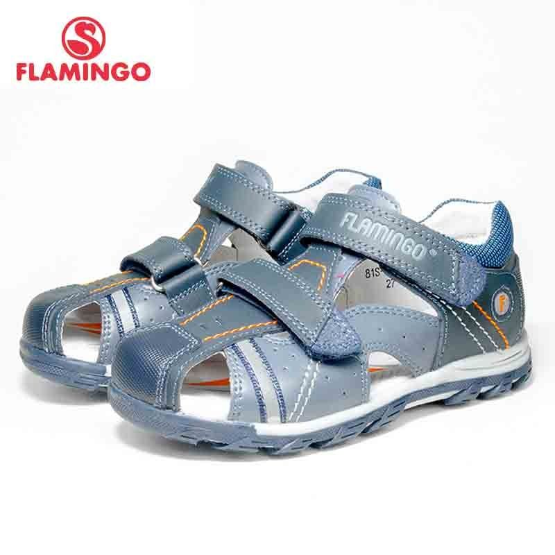 FLAMINGO Brand 2018 Mixed Color Summer Hook&Loop Blue Casual Kids shoes Little Outdoor Sandals Flat for boy 81S-XY-0784