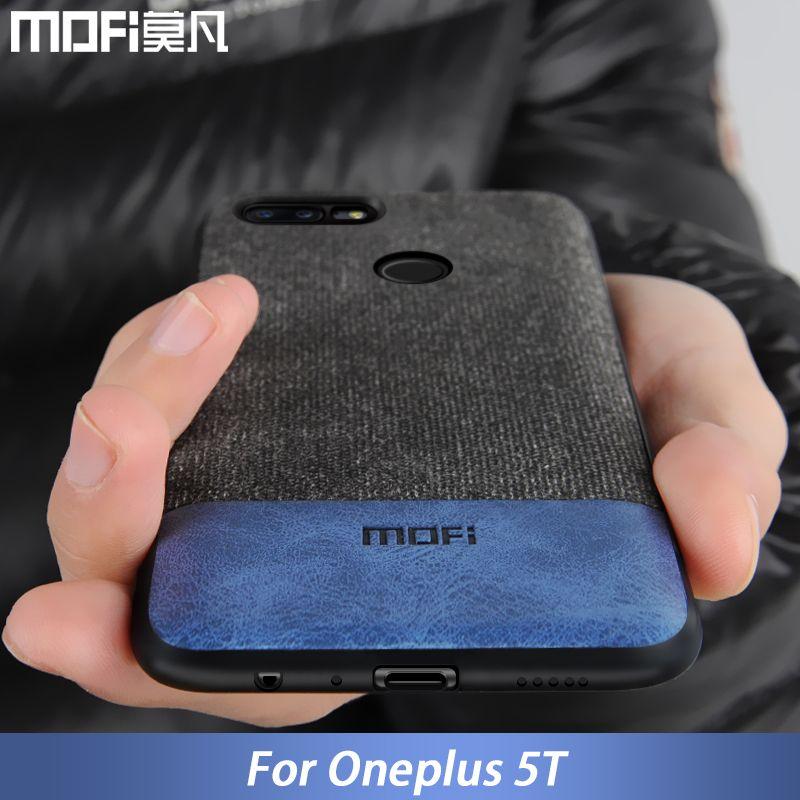 Oneplus 5 t cas couverture un plus 5 t retour couverture silicone bord hommes d'affaires tissu antichoc cas coque MOFi oneplus 5 t cas