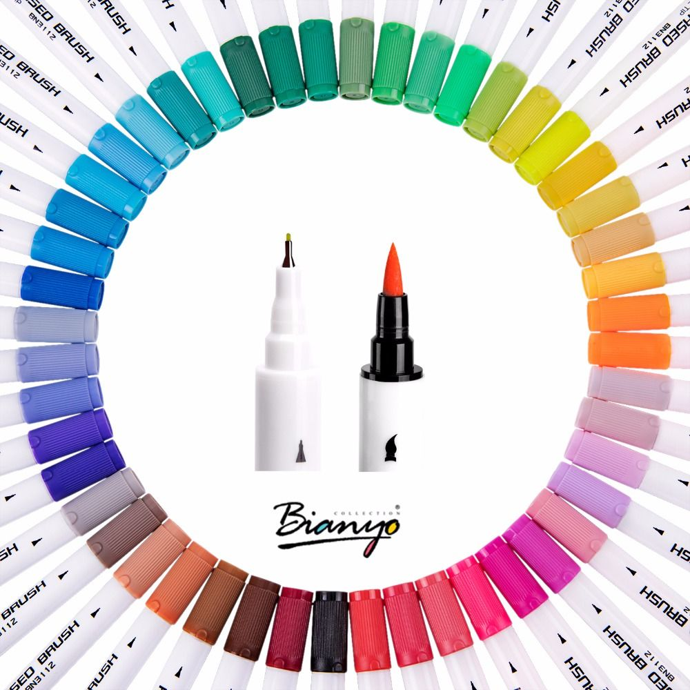 Bianyo Watercolors Brush Pen Colored Markers 48 Colors Marker Art Pens Sketch Art Copic Drawing For Stationery School <font><b>Supplies</b></font>