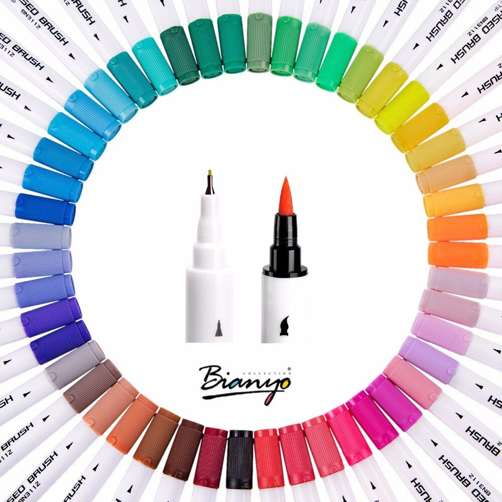 Bianyo Watercolors brush Pen Colored Markers Sta 48 Colors Marker Art Pens Sketch Copic Drawing For Stationery School Supplies
