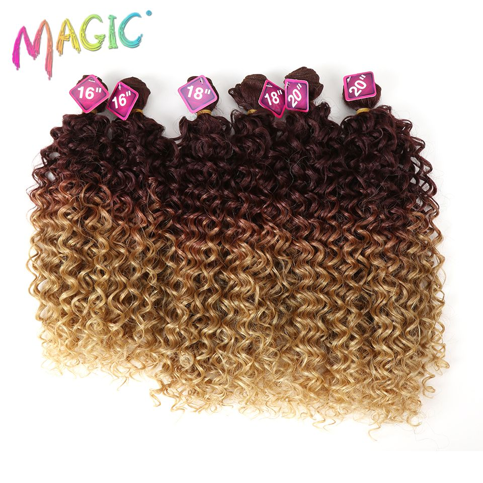 Magic Synthetic Kinky Curly Blonde Hair 16-20 inch 7Pieces/lot Afro Kinky Curly Hair 6Pieces With Closure Lace For Black Women