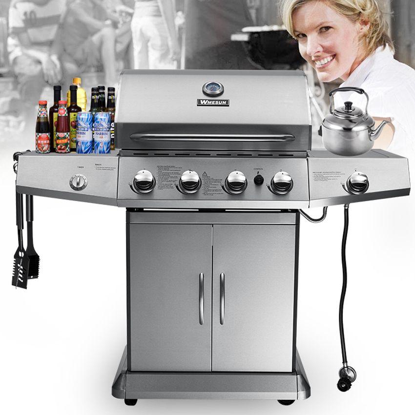 Edelstahl BBq Grill Gasherd Camping Braten Picknick Werkzeuge Garten Grills Zubehör Kommerziellen Outdoor Fleisch Grill Ofen