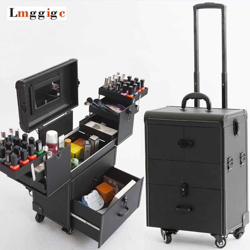 Cosmetic Bags with Wheel,Nails Makeup Toolbox,Multi-layer Trolley Case with Rolling,PVC Beauty Box Travel Luggage Suitcase bag