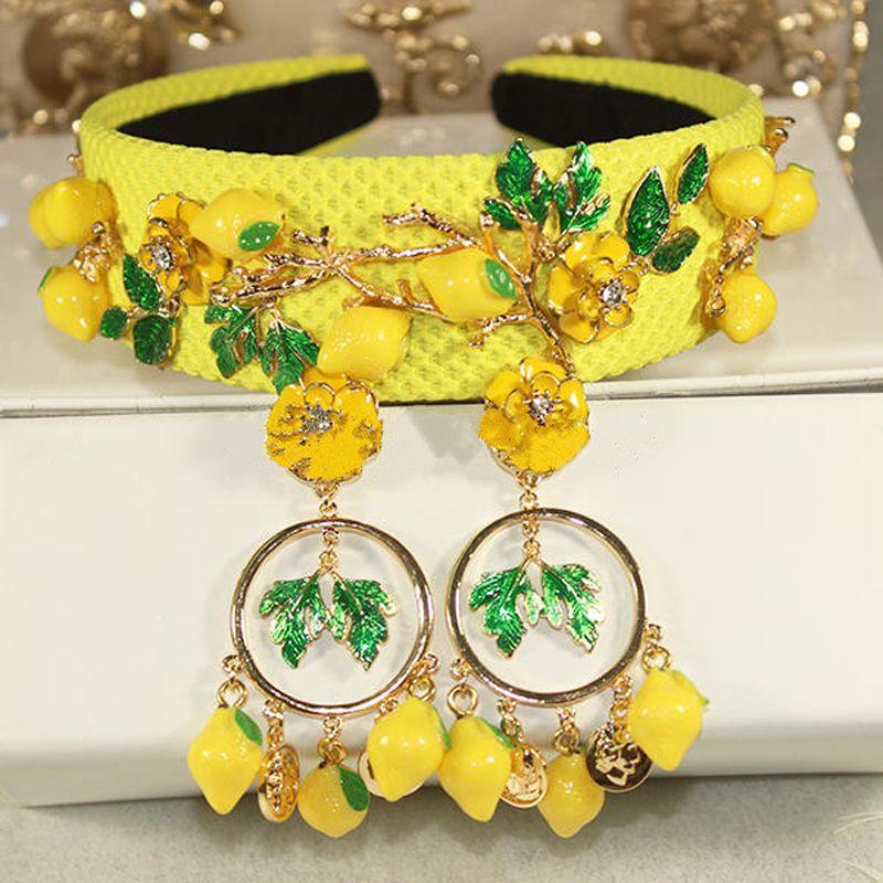 2018 Baroque de mode piste mignon jaune citron fleur vert feuilles bandeaux pour les femmes de luxe vintage cheveux accessoires bijoux