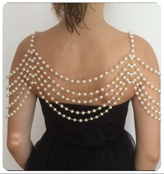 Haut de gamme personnalisé élégant multicouche perle chaîne collier pendentifs femmes de mariage épaules chaîne de mariée corps bijoux collier