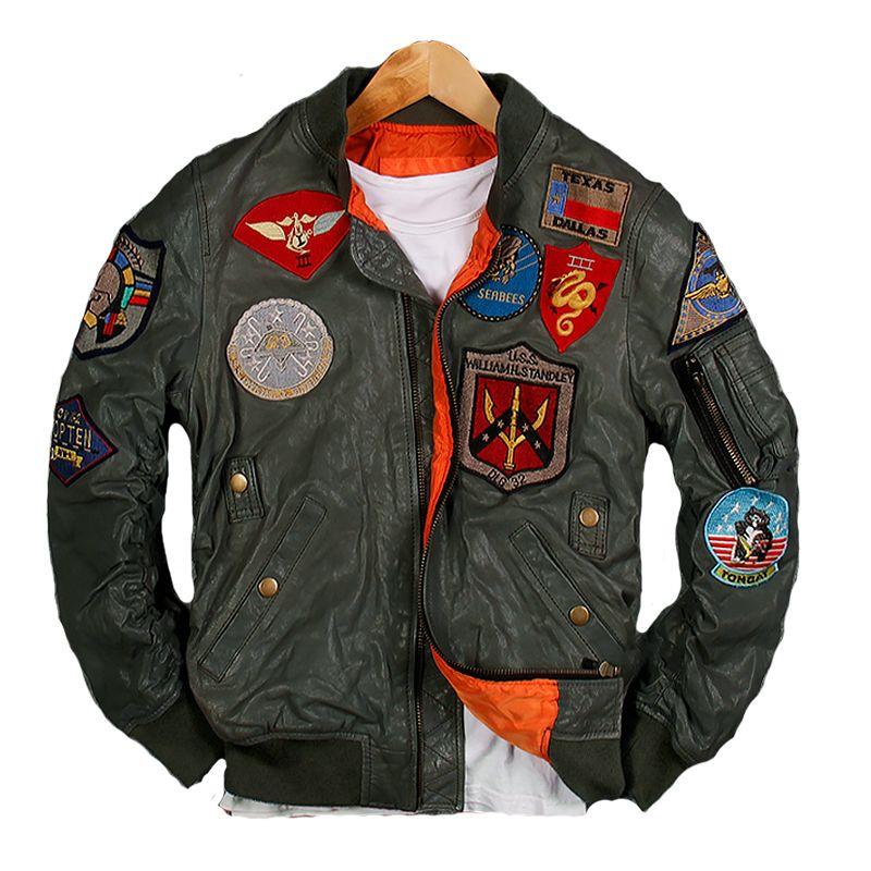 2019 männer Grün Pilot Leder Jacke Plus Größe 6XL Echtem Schaffell Slim Fit Russische Militär Aviator Leder Mantel FREIES VERSCHIFFEN