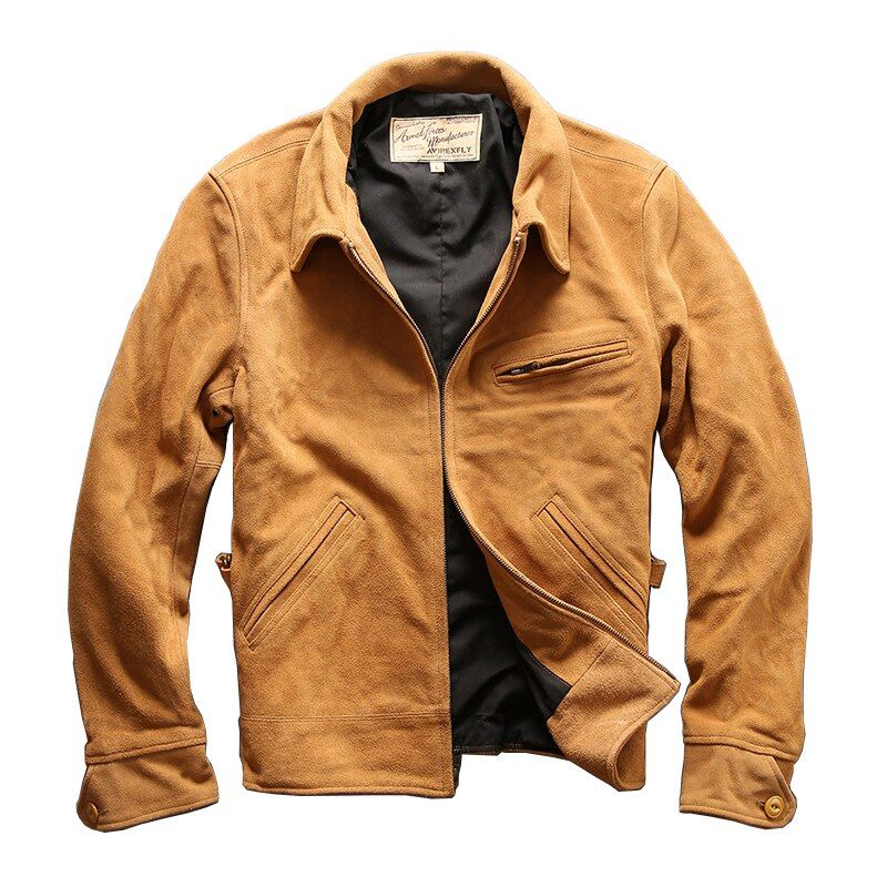 men's cow leather mens cowhide coat vintage rider jacket 6A-2