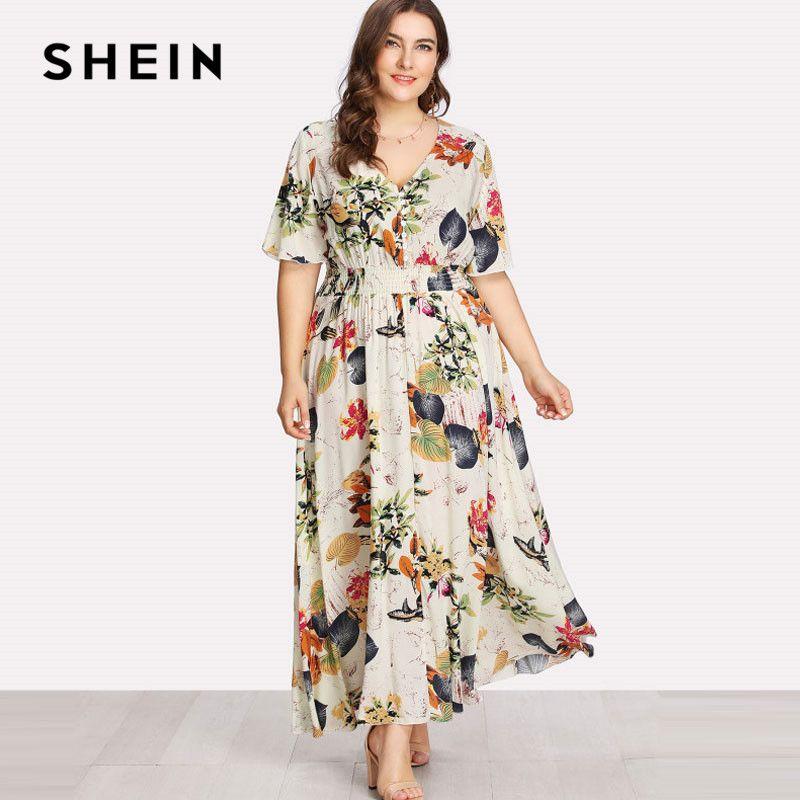 SHEIN Floral Plus Size White Dress Women Maxi Long Dresses Large Sizes Print V-neck Button Front Shirred Waist Tropical Dress