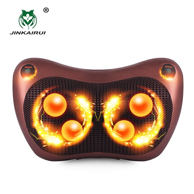 JinKaiRui Electric Infrared Heating Kneading Neck Shoulder Back Body Spa Massage Pillow Car Chair Shiatsu Massager Masaj Device