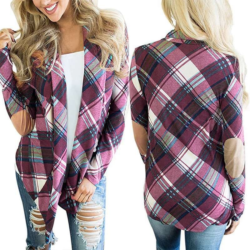 Women Plaid Cardigans Coat New 2017 Autumn asymmetrical hem Outwear Female Long Sleeve shirt Top Casual Sweater Jacket Femininos
