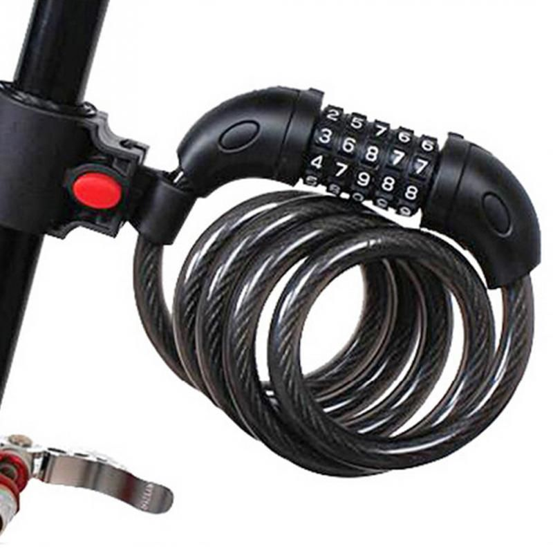 5 Digit Combination Bike Bicycle Cycling Security Code Lock Cable 1200x12mm Anti Theft Cycling Chain Five-digit Password Lock