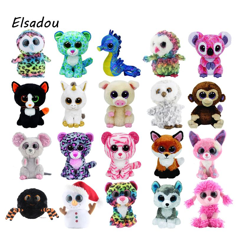 Ty Beanie Boos Elephant and Monkey Plush Doll Toys for Girl Rabbit Fox Cute Animal Owl Unicorn Cat Ladybug 6