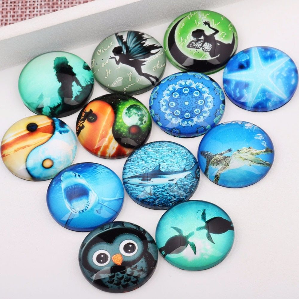 onwear 20pcs 25mm glass cabochon diy handmade mixed shark turtle starfish owl ying yang photo cameo findings for jewelry making
