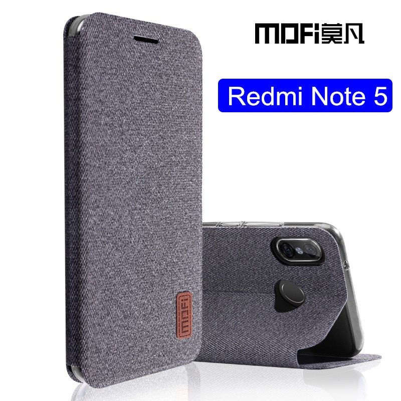 Pour Xiaomi Redmi note 5 cas Mondial Version note5 flip couverture tissu de protection étui en silicone d'origine MOFi Redmi note 5 pro cas