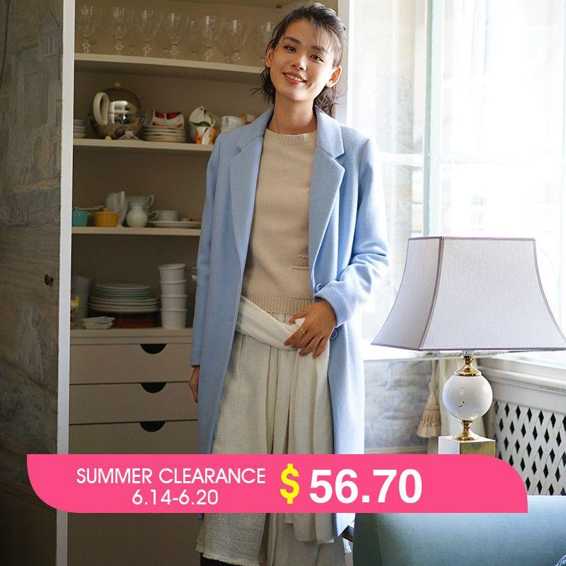 INMAN Women'S Winter New Casual Style Single Button Woolen Coat Long Overcoat