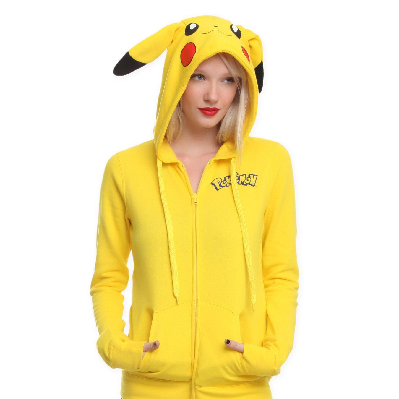 2016 Hoodies Pokemon Sudaderas Mujer Nouveau Pokemon Visage Pikachu Totoro Impression Costume Queue Zip Sweat À Capuche Livraison Gratuite
