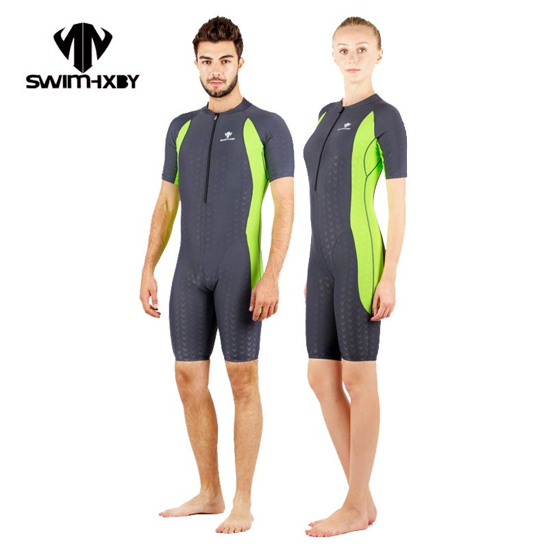 HXBY Short Sleeve Swimwear Women One Piece Swimsuit Men Swimming bodysuit Women's Swimsuits One Piece Bathing Suit With Sleeves