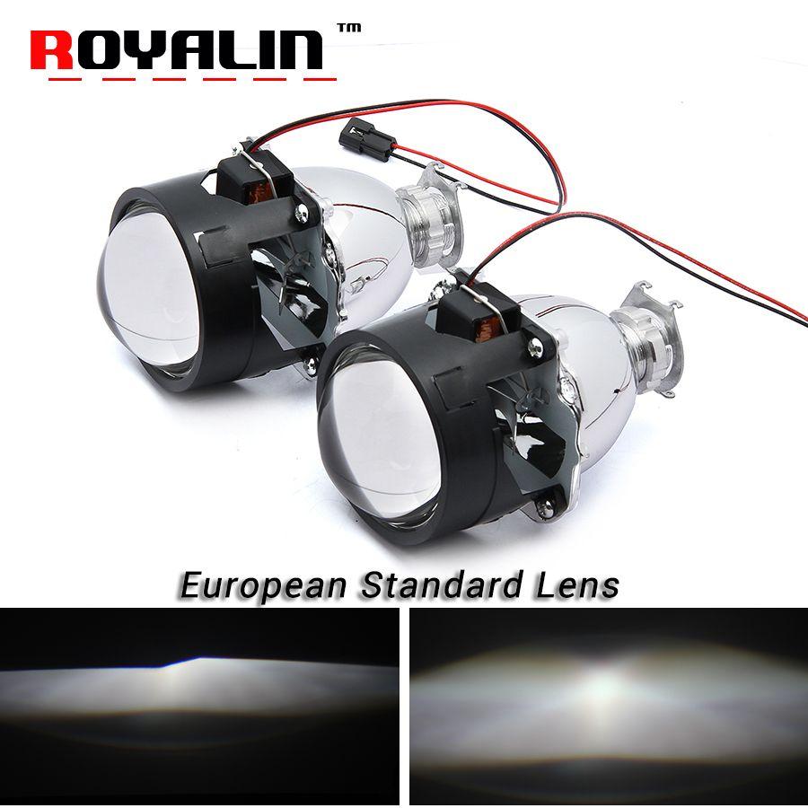 ROYALIN Styling European standard Lenses Bi Xenon H1 HID Projector Headlights Lens 2.5'' for H4 H7 Auto Lamps Retrofits Use H1