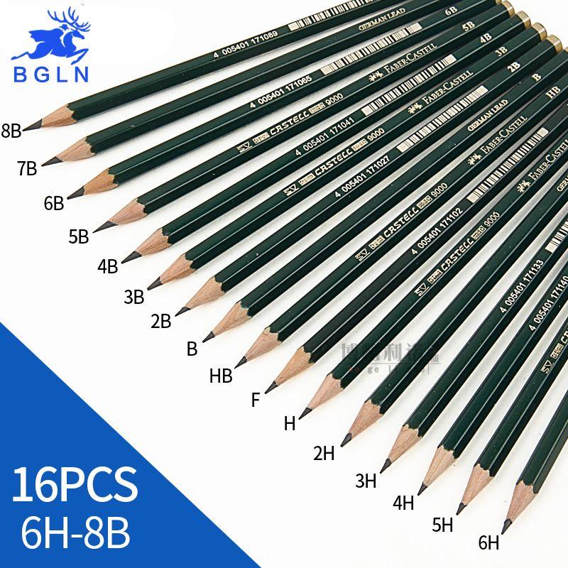 Faber Castell 16 Pcs Croquis Crayons À Dessin Non-toxique Standard Crayons 6H-8B Différentes Dureté Crayon Papeterie Fournitures Scolaires