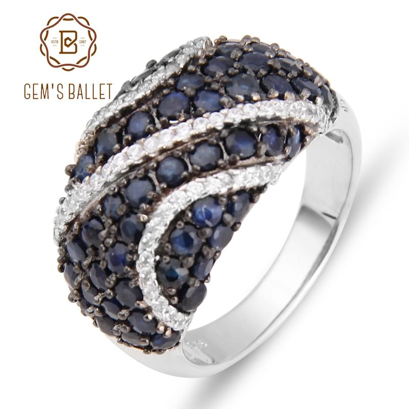 GEM'S BALLET Natural Blue Sapphire 925 sterling silver Natural Gemstone Rings For Women Gift Vintage Fashion Accessories
