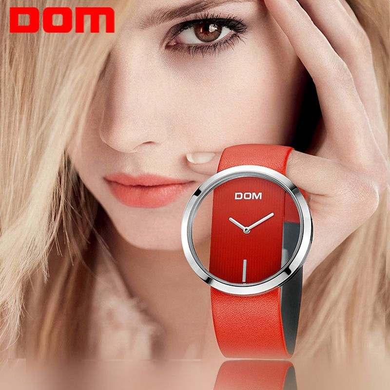 Watch Women DOM brand luxury Fashion Casual quartz Unique Stylish <font><b>Hollow</b></font> skeleton watches leather sport Lady wristwatches 205L