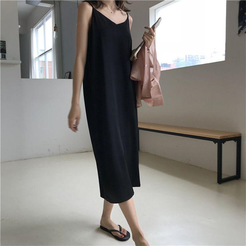 Sexy femmes Maxi robe lâche sans manches robes v-cou fronde longue robe de soirée noire