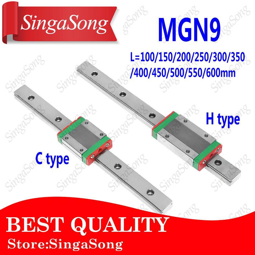 NOUVEAU 9mm Linéaire Guide MGN9 100 150 200 250 300 350 400 450 500 550 600mm linéaire rail + MGN9H ou MGN9C bloc 3d imprimante CNC