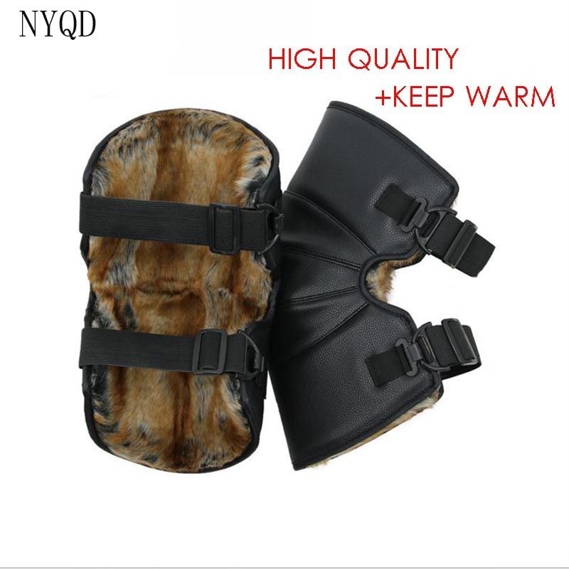 PU WARTERPROOF Winter Outdoor Cold-proof Short Kneepads Keep Warm Motorcycle Kneepads Sport Tactical Protection Knee Protector
